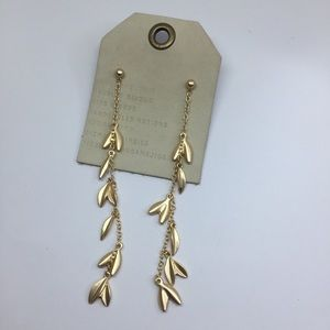 NWT Anthropologie Gold Leaves Long Earrings